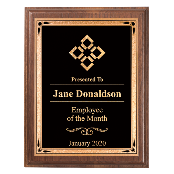 """Employee of the Month 5"""" x 7"""" Walnut Plaque"""