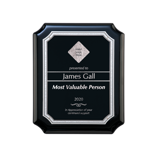 Gloss Black and Gold Employee MVP Wall Plaque with Scalloped Corners