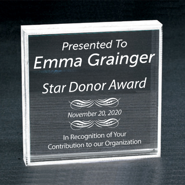 Honorary Donor Clear Paperweight