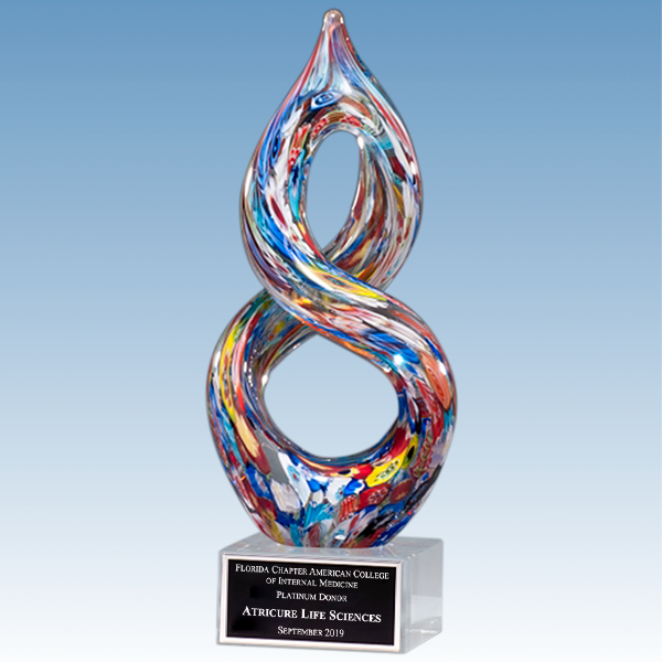 Honorary Donor Multi-Color Helix Art Glass Award