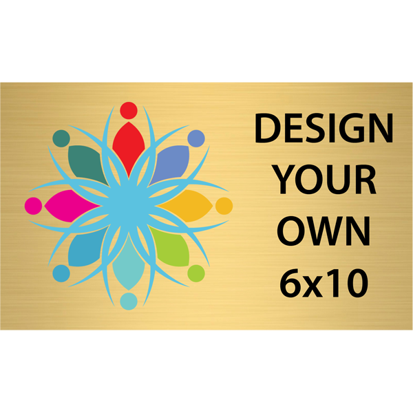 """Horizontal Full Color Brass Signs 6"""" x 10"""""""