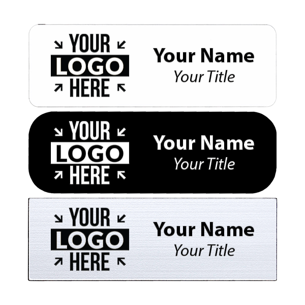"Laser Engraved White Name Tag - 1"" x 3"""
