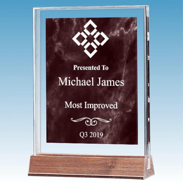 Most Improved Marble Ruby Polished Acrylic Award on Walnut Base