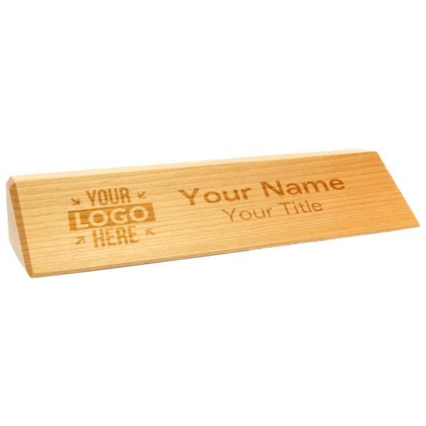 """Natural Engraved Red Alder Desk Wedge w/ Logo   2"""" x 10"""""""