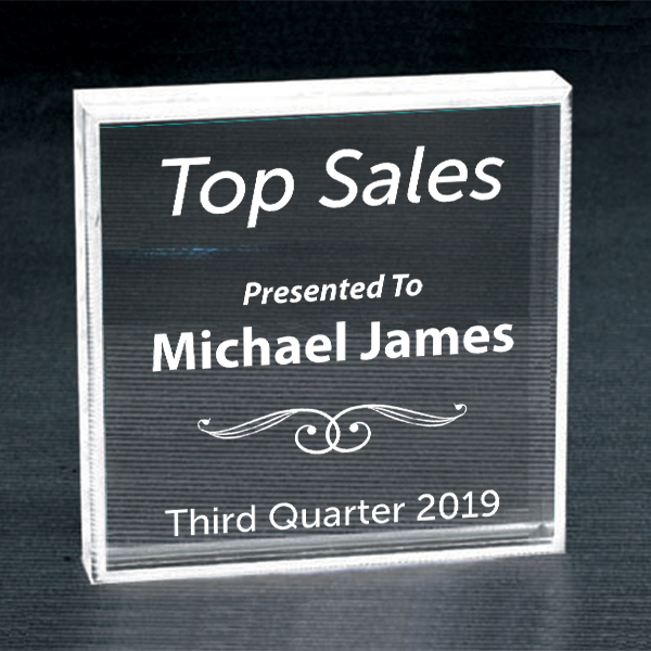 Sales Goal Clear Paperweight