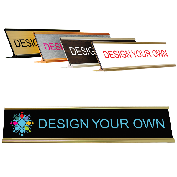 """Traditional 2"""" x 10"""" Desk Nameplate - Full Color"""