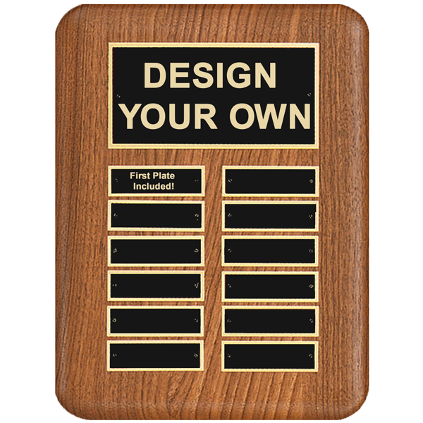 """Walnut Rounded Corner 9"""" x 12"""" Perpetual Plaque with 12 Plates"""
