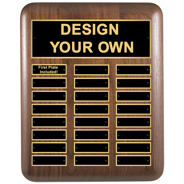 """Walnut Rounded Corners 11""""x15"""" Perpetual Plaque with 24 Plates"""