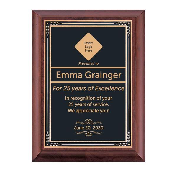 Years of Service Cherry Award Plaque w/ Black Brass Plate