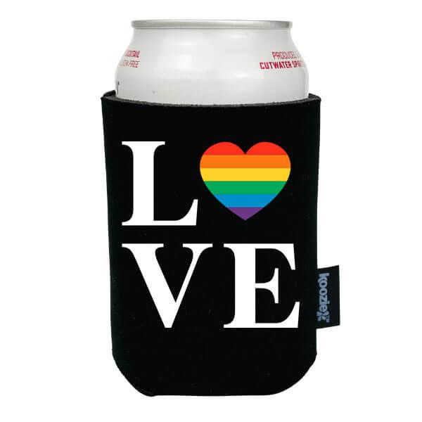 Koozie® Love with Rainbow Heart Pride Drink Cooler