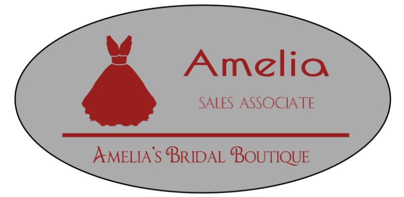 Bridal Shop 3 Line Oval Name Badge