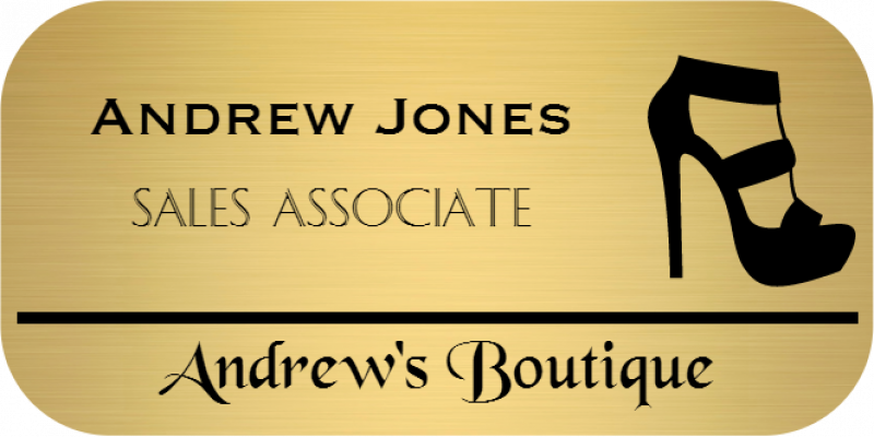 Shoe Store 3 Line Rounded Rectangle Name Badge