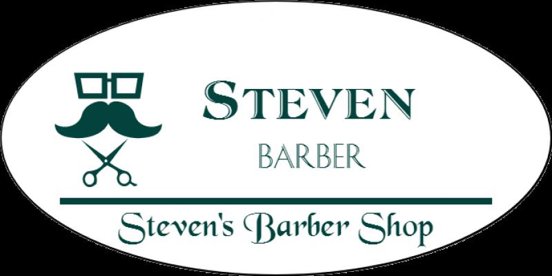 Barber Shop 3 Line Oval Name Badge