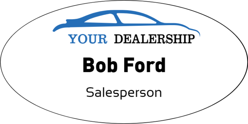 Color Oval Car Dealer Name Tag
