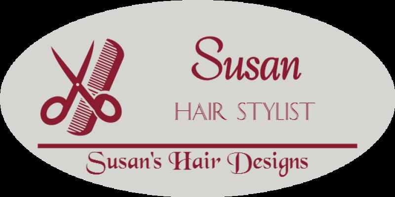 Hair Salon 3 Line Oval Name Badge A