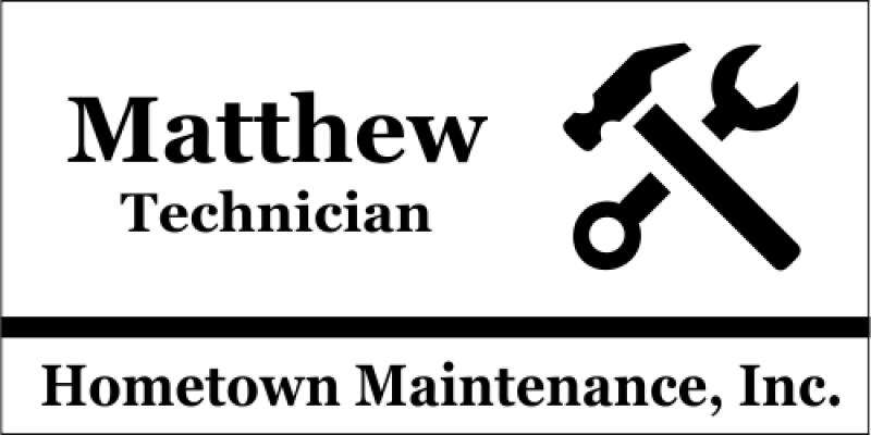 Maintenance Hammer Wrench 3 Line Name Badge