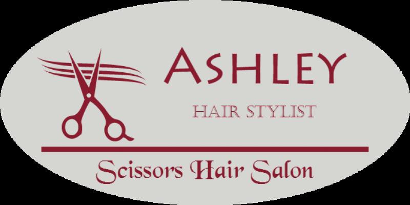 Hair Salon 3 Line Oval Name Badge B
