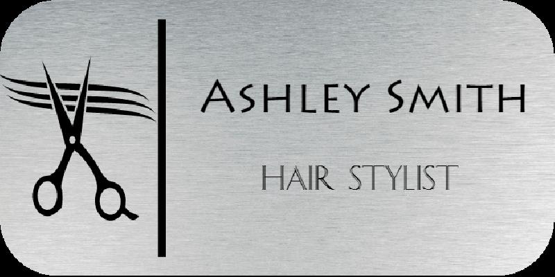 Hair Salon 2 Line Rounded Rectangle Name Badge B