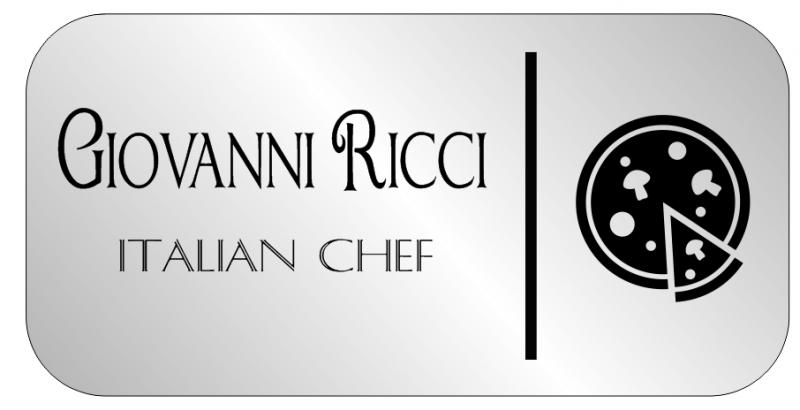 2 Line Italian Restaurant Rectangle Name Badge B