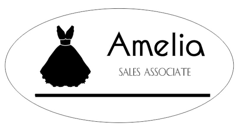 Bridal Shop 2 Line Oval Name Badge