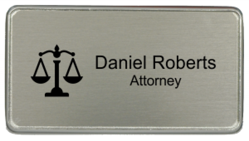 3x1.5 inch Law Office Rectange Name Badge w/Holder