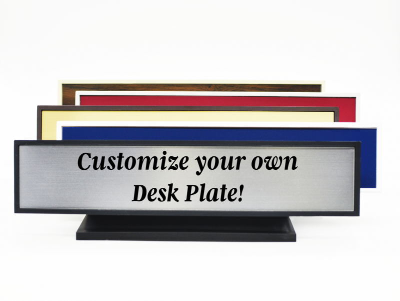 Plastic Square Corner Deskplate w/ Engraved Insert