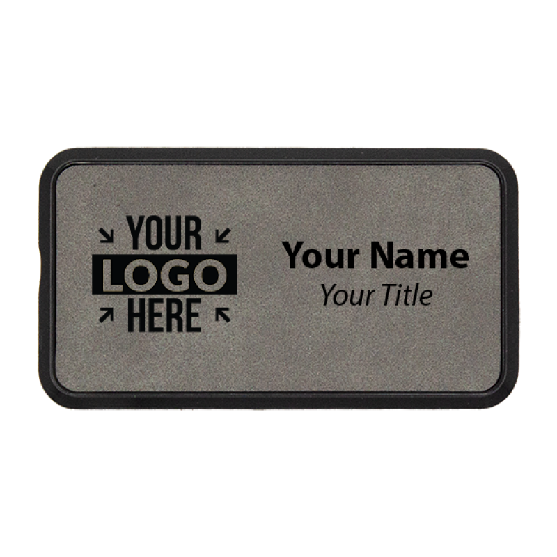 """Leatherette Rectangle Name Tag with Frame - 1.5"""" x 3"""""""