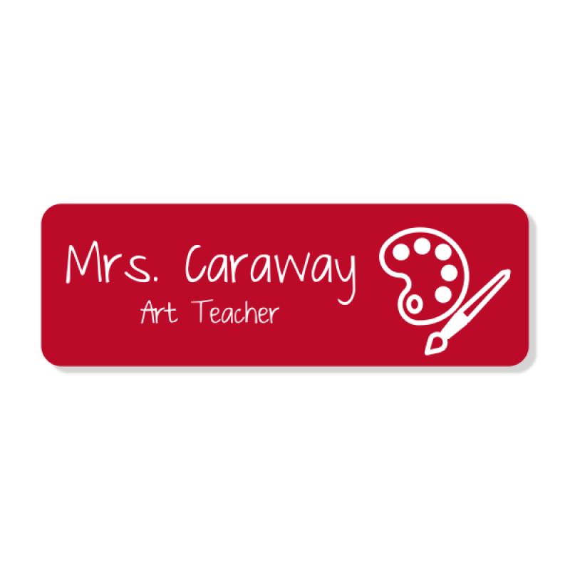 Art Teacher Rectangle 2 Line Name Badge A