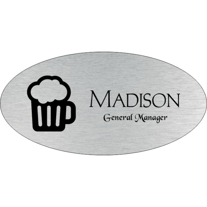 Beer Mug Oval Bar & Wine Name Tag