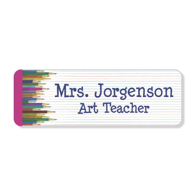 School Teacher Pencil 2 Line Name Badge
