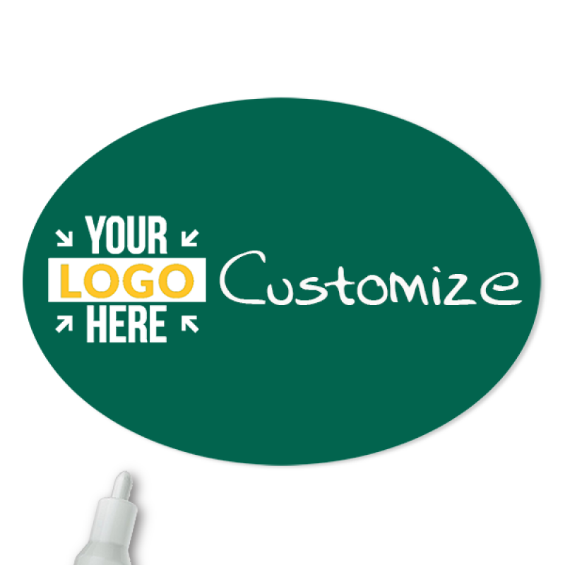 Customized Oval 1.75 x 2.5 Chalkboard Reusable Name Tag