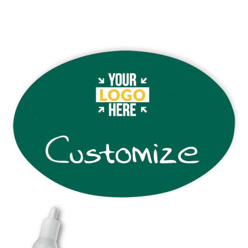 Customized Oval 2 x 3 Chalkboard Reusable Name Tag