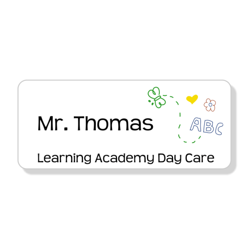 Day Care Butterfly Art 3 Line Name Badge