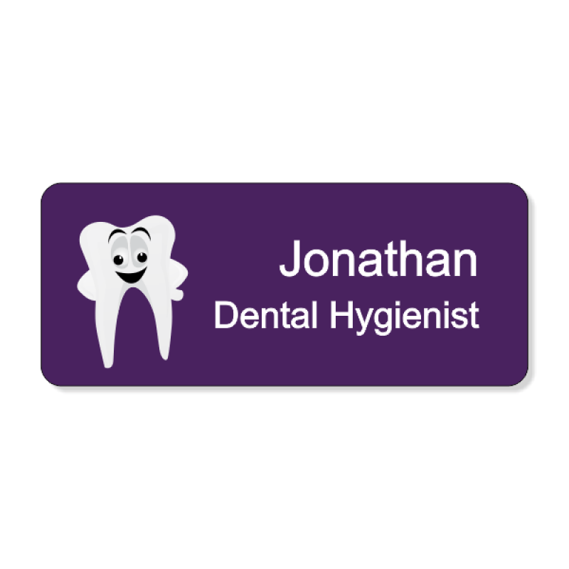Dental Smiley Tooth Purple 2 Line Name Badge