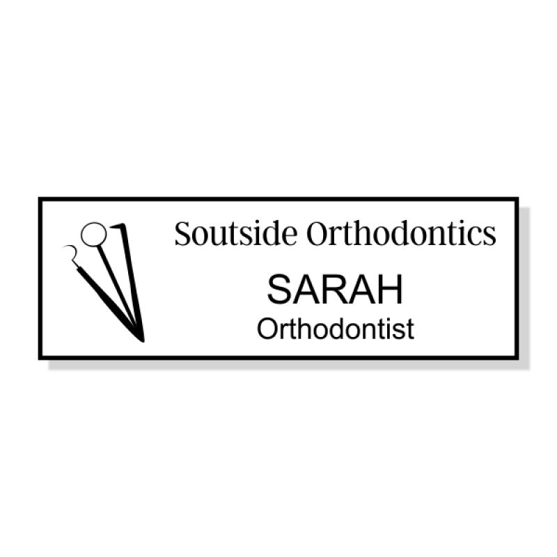 Dental Tools 3 Line Name Badge