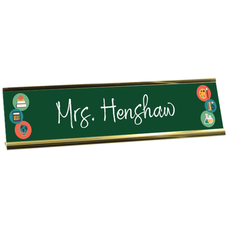 Custom Full Color Plastic Desk Plate for Teachers