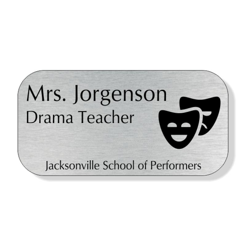School Teacher Double Mask 4 Line Name Badge