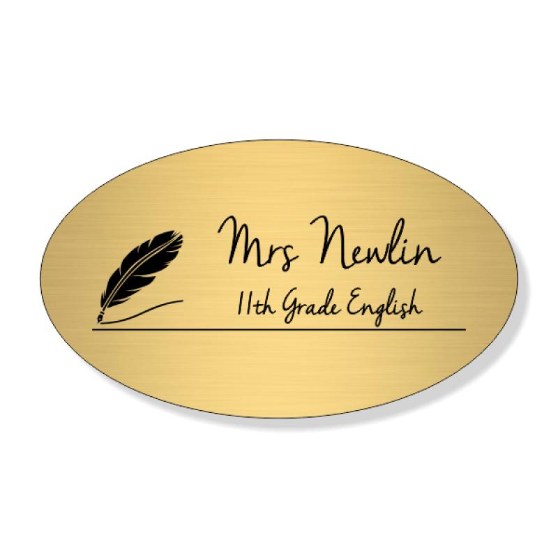 English Teacher Oval 2 Line Name Badge
