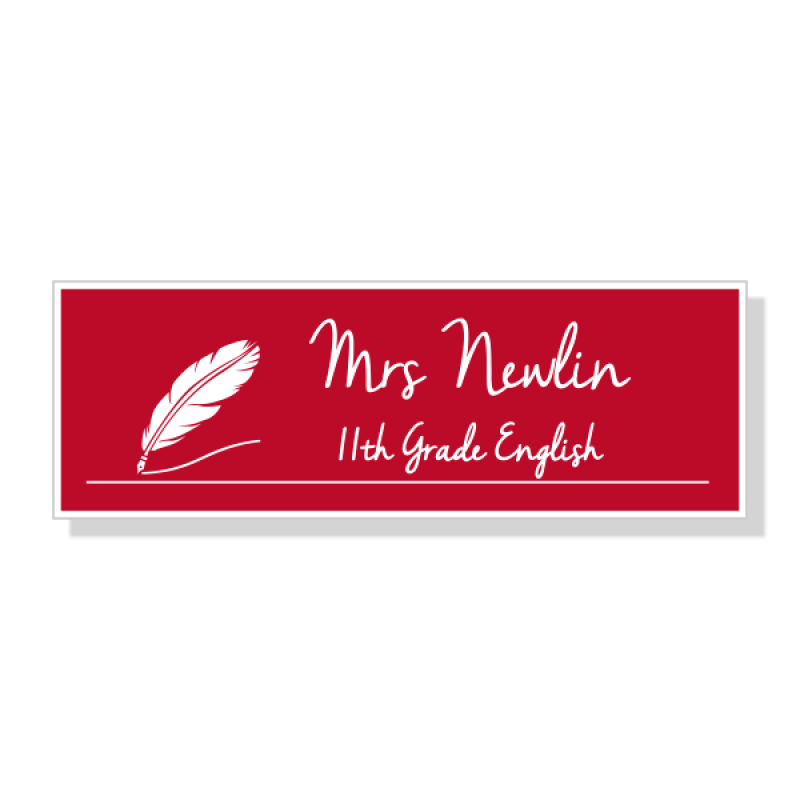 English Teacher Rectangle 2 Line Name Badge