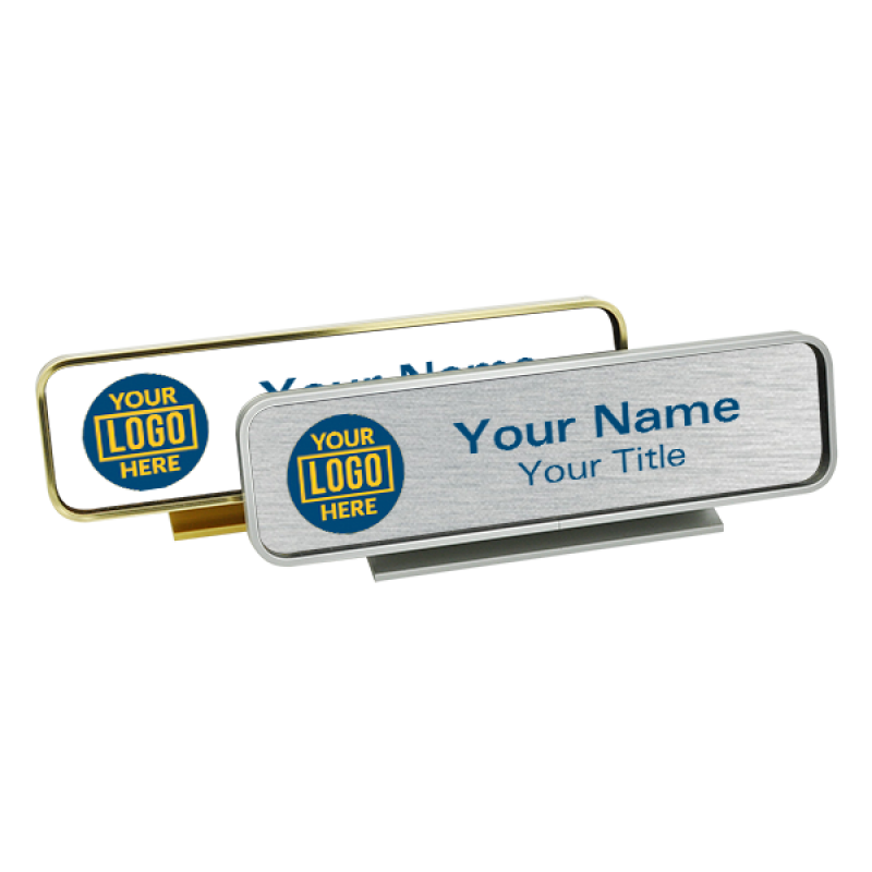 """Executive Desk Name Plate Holder with Full Color Insert (Rounded Corners) 2"""" x 8"""""""