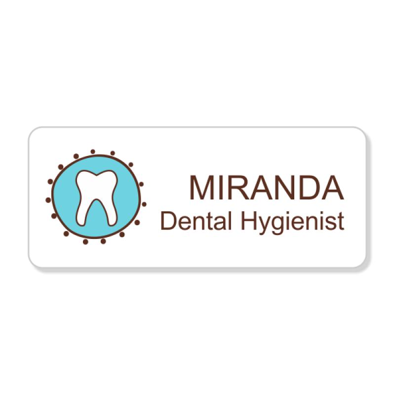 Dental Fancy Tooth 2 Line Name Badge