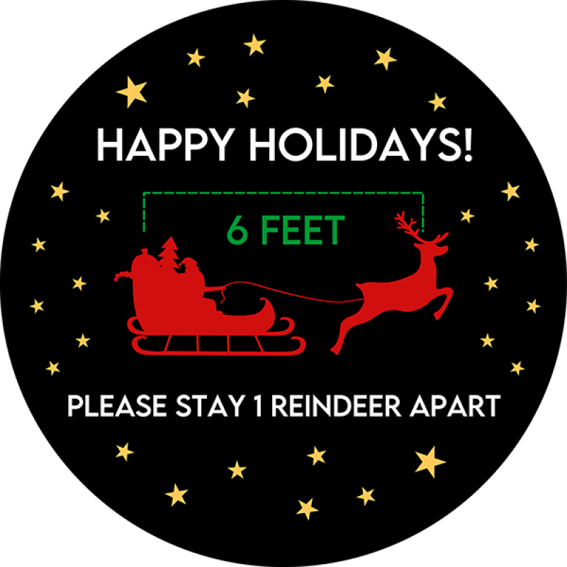 Stay 1 Reindeer Apart Vinyl Floor Decal