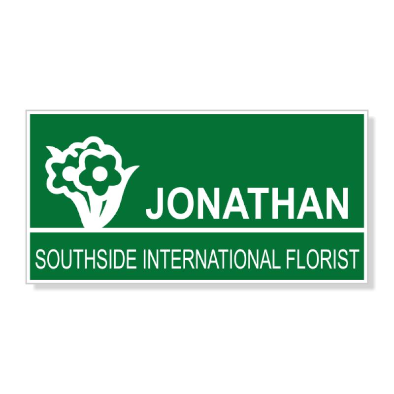 Flower Shop Bouque 2 Line Name Badge