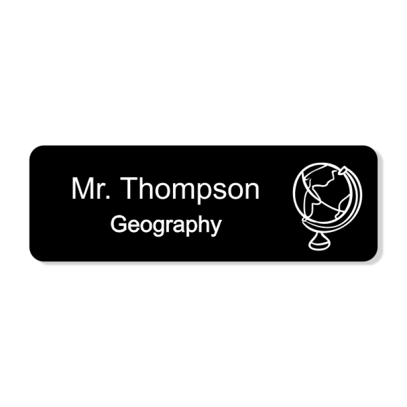 School Geography Rectangle 2 Line Name Badge
