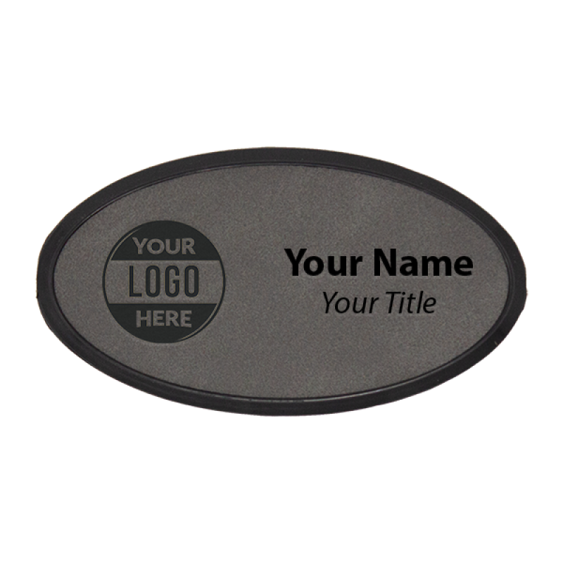 """Leatherette Name Tag with Frame - Oval 1.75"""" x 3.25"""" Color Options"""