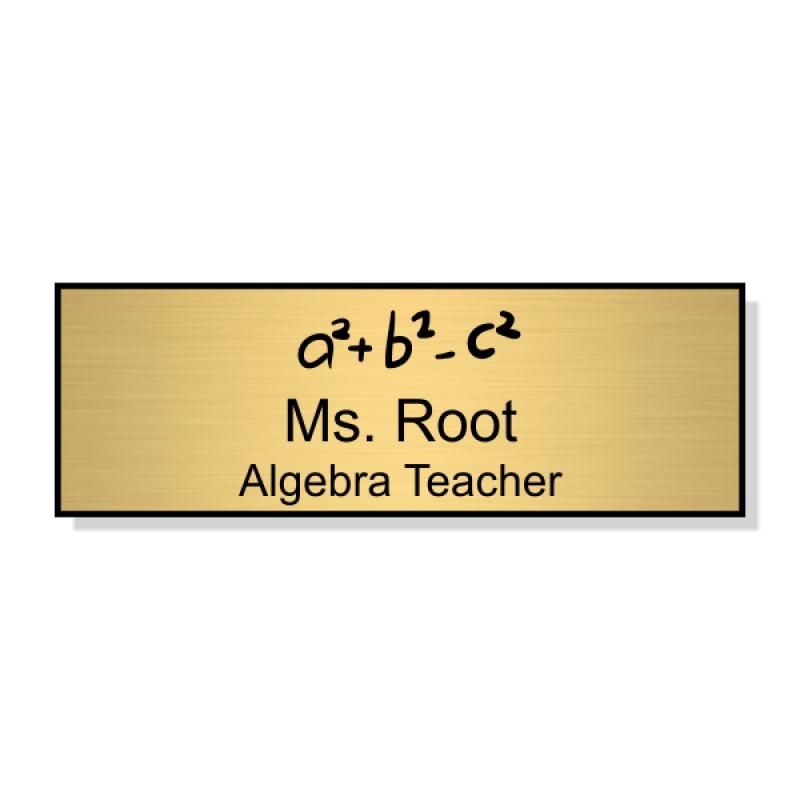 School Math Rectangle 2 Line Name Badge A