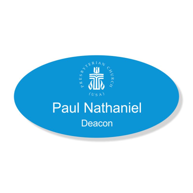 Presbyterian Engraved Name Tag - Oval