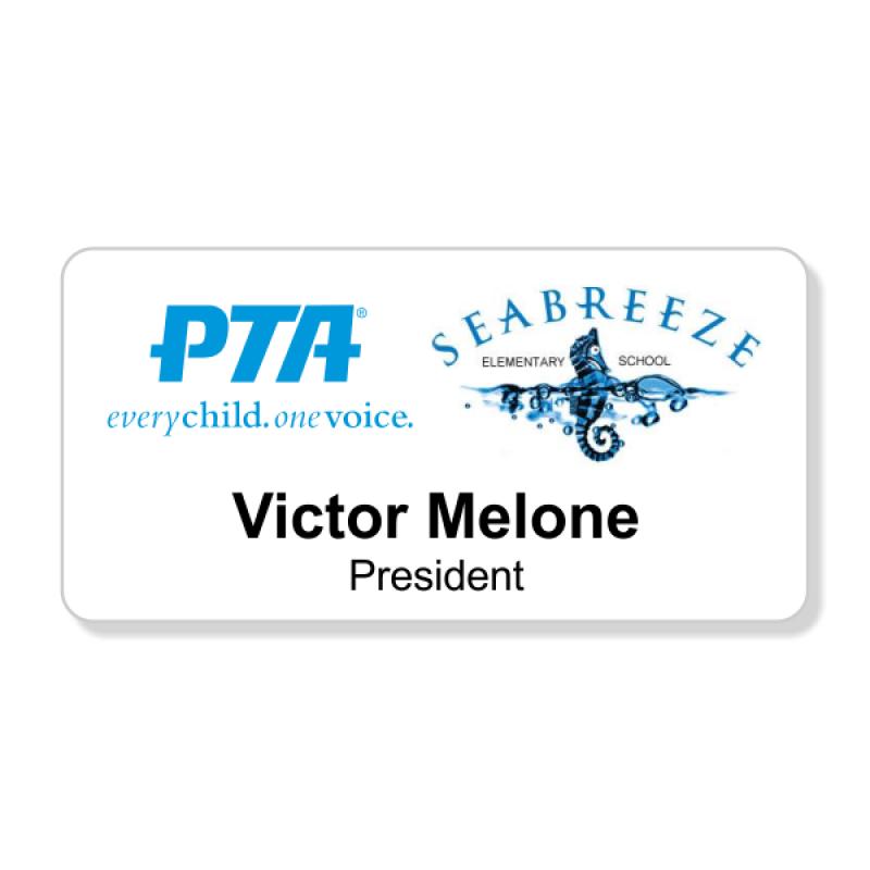 PTA Large White Printed Name Badge
