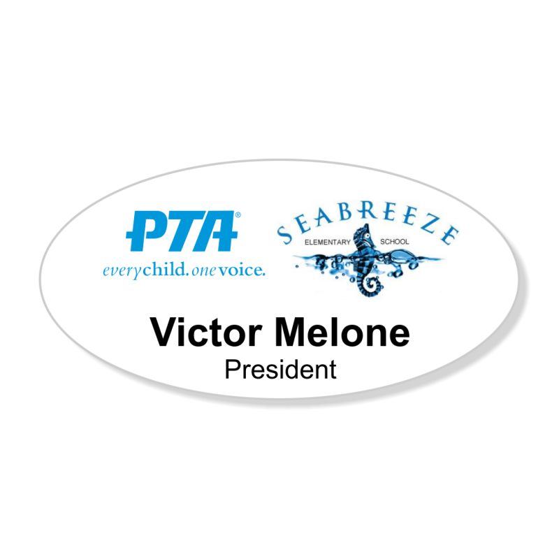 PTA Large Oval White Printed Name Badge