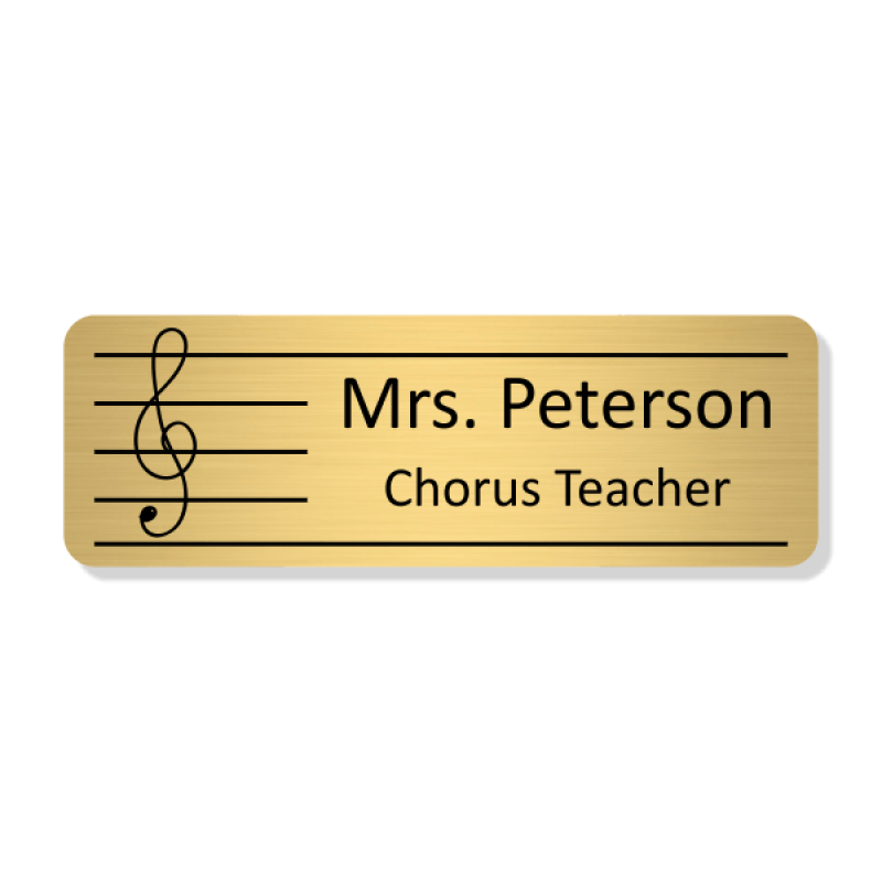 Music/Chorus Rectangle 2 Line Name Badge C